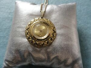 Swiss Made Vintage Lucerno Mechanical Wind Up Necklace Pendant Watch