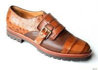 $595 Maxmara Brown Croco Leather Buckled Loafers Shoes 40 Us 10 Amazing