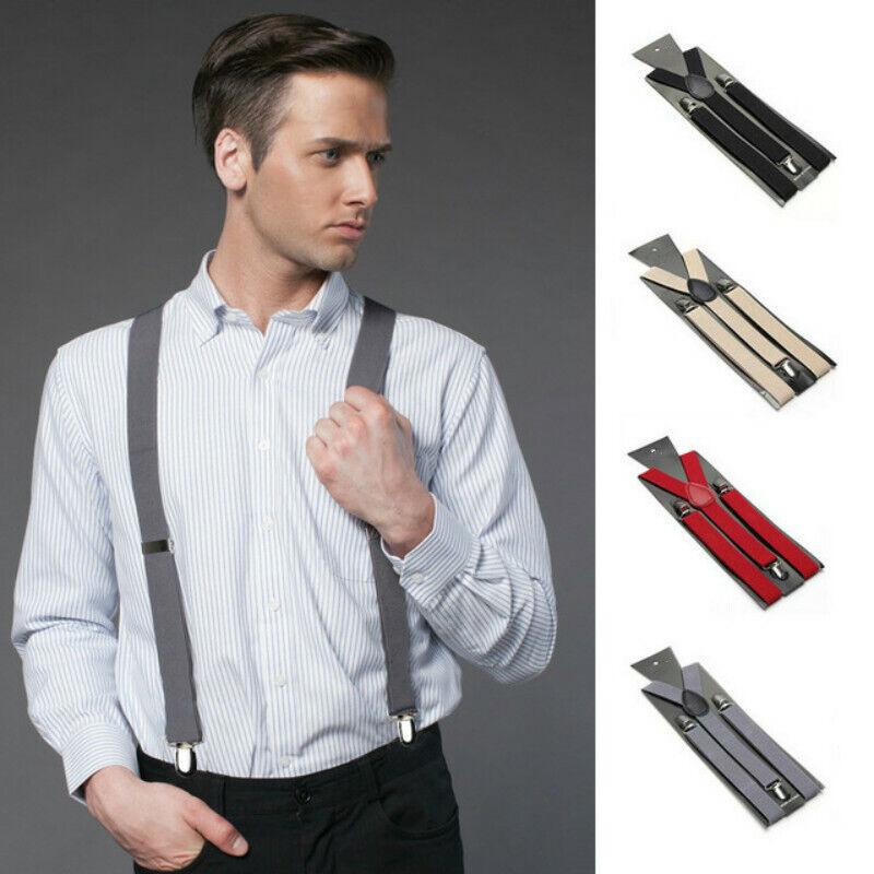 Unisex Men Women Elastic Y-Shape Braces Solid Color/Stripe Adjustable Suspenders