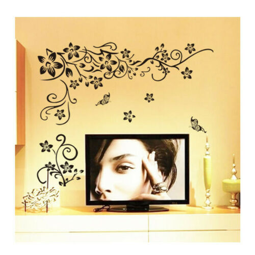Sticker  Black  Mural Home decor Butterfly   Flower Vine  Removable  Wall   New