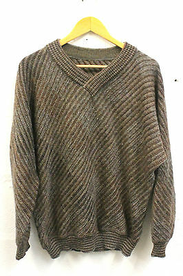 Vintage Jumper Sweater Brown Mohair Wool BOGNER Size Large Tailored 80s Retro