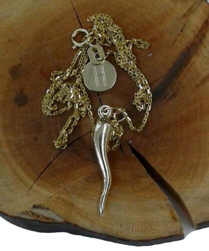 Cornicello Collier 14K Or Jaune Nice Cadeau Chaîne Corne Pendentif Gravure Gratuite