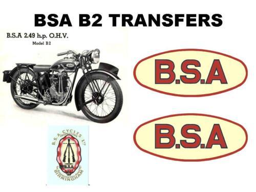 BSA B2 Transfers Set of Decals Motorcycle DBSA162
