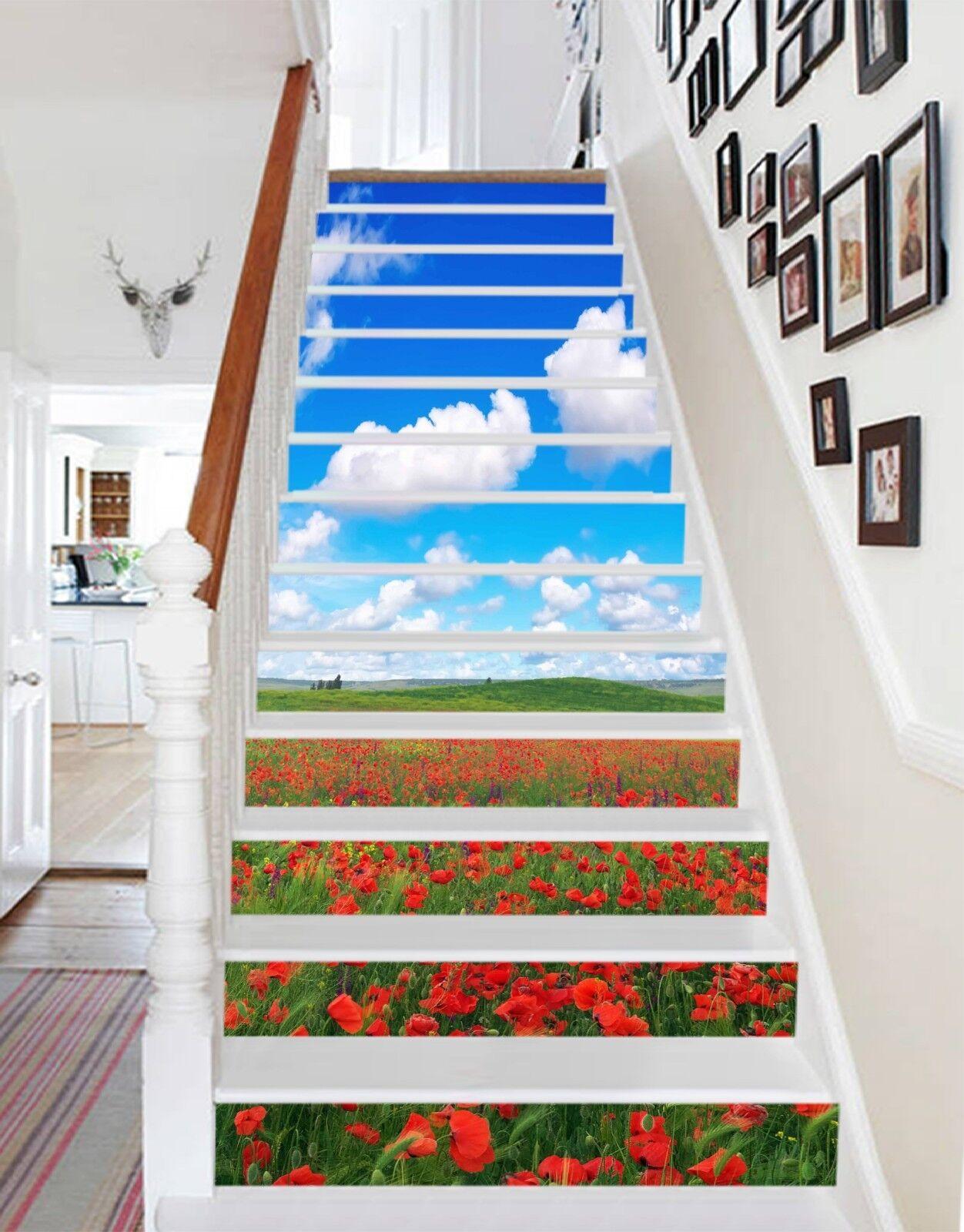 3D Üppige Blaumen 17 Stair Risers Dekoration Fototapete Vinyl Aufkleber Tapete DE
