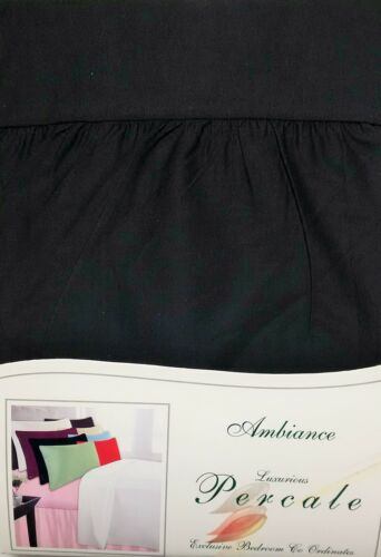 PLAIN BLACK HIGH 180 THREAD COUNT PERCALE SUPERKING FITTED VALANCE SHEETS