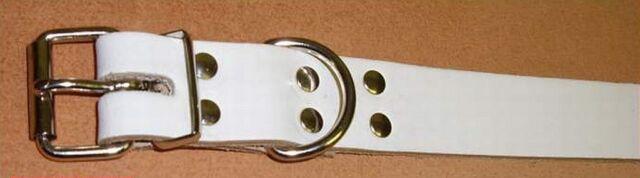 2 starke Leder-Riemen weiss D-Ring 3,0 x 75,0 cm Befestigungsriemen Fixriemen