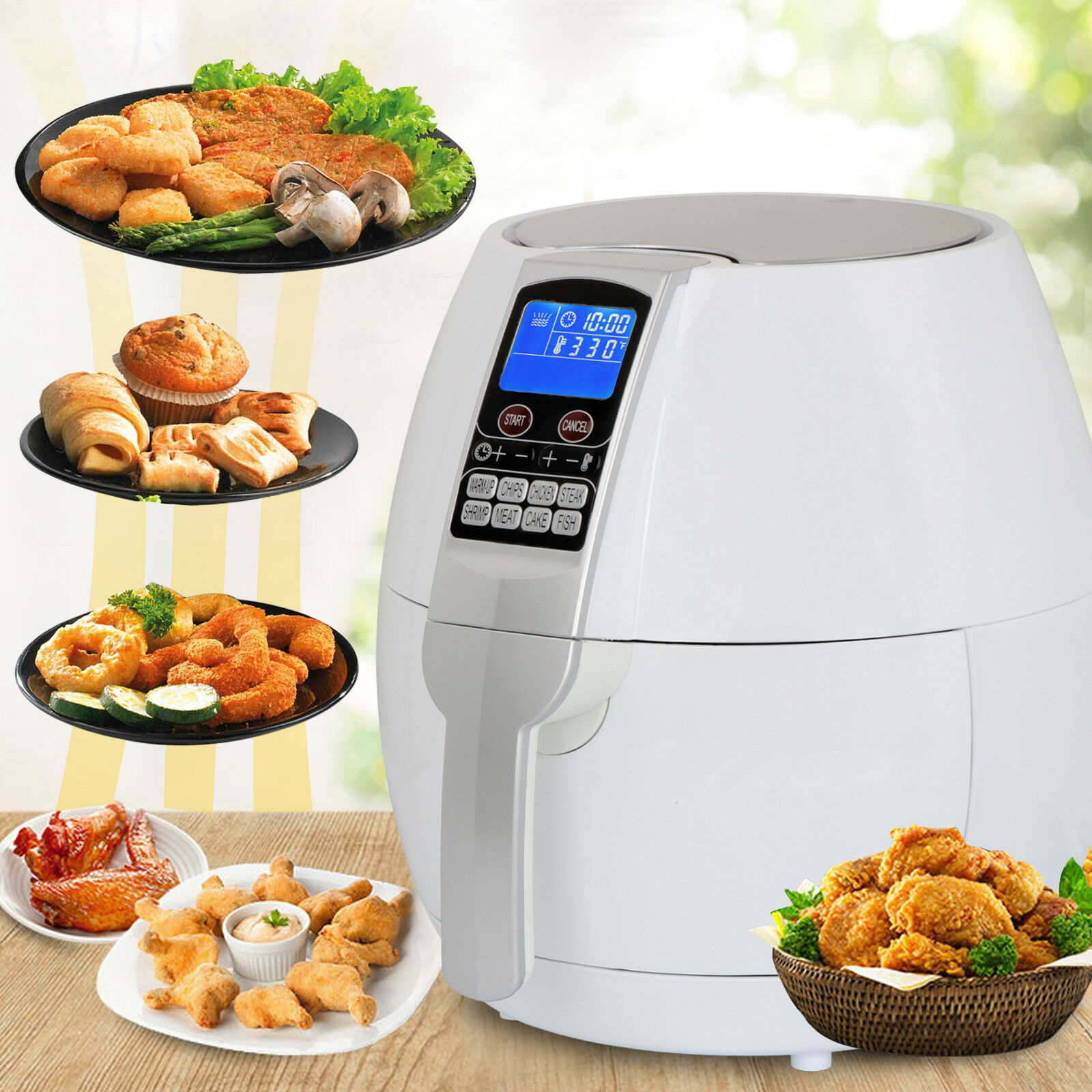 White 1500W Electric Air Fryer 3.7 Quart With Timer Temperature Control Free Oil