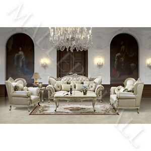 Image Is Loading French Provincial Carved White Tufted Leather Upholstered 3
