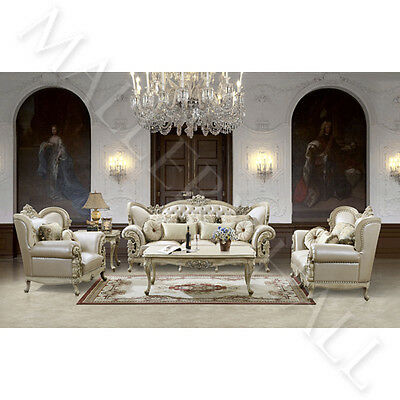 Stupendous French Provincial Carved White Tufted Leather Upholstered 5 Pc Sofa Set Ebay Evergreenethics Interior Chair Design Evergreenethicsorg
