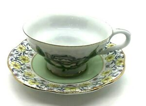 Beautiful-Rosina-Bone-China-Cup-and-Saucer-Made-in-England-Yellow-Floral-Vintage