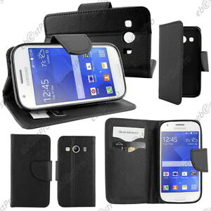 Housse-Etui-Coque-Portefeuille-Simili-Cuir-Noir-Samsung-Galaxy-Ace-4-SM-G357Fz