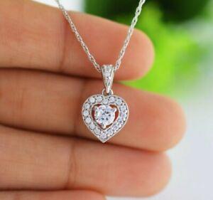 1Ct-Diamond-Solitaire-Heart-Shape-Pendant-Necklace-18-034-W-Chain-14K-White-Gold-Gp