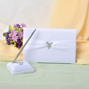 White-Satin-Bow-Guest-Book-and-Pens-GB12b