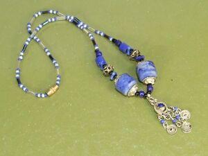 Vintage-Kuchi-Ethnic-Tribal-Dangle-Pendant-Necklace-w-Blue-Marble-amp-Glass-Beads
