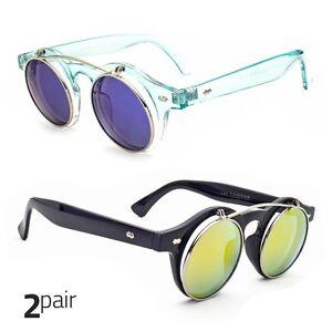 6d2635d1db1f 2 Pair Cool Flip Up Lens Steampunk Vintage Retro Round Sunglasses ...