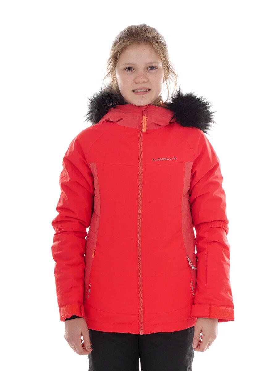 O 'Neill Giacca Sci invernale giacca giacca snowtavola felice rosso pelliccia sintetica logo