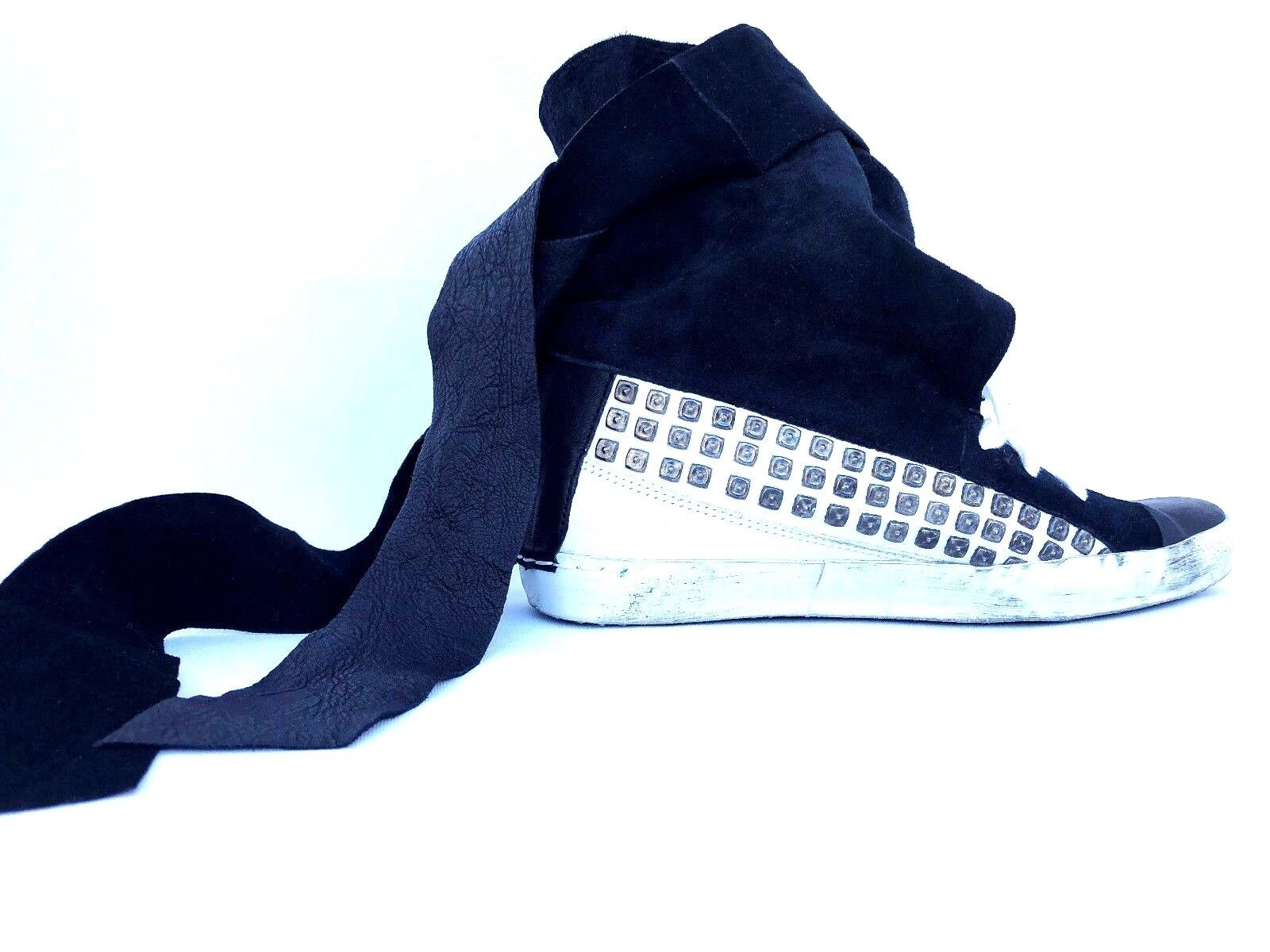 Cinzia Araia Black  White Suede Leather Studded Fashion High top Sneakers 38 7.5
