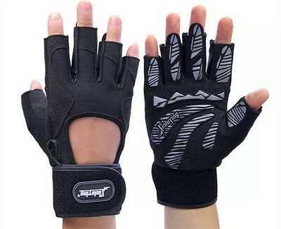 Men Weight lifting Gym Fitness Gloves Breathable With Gel Palm Workout Exercise