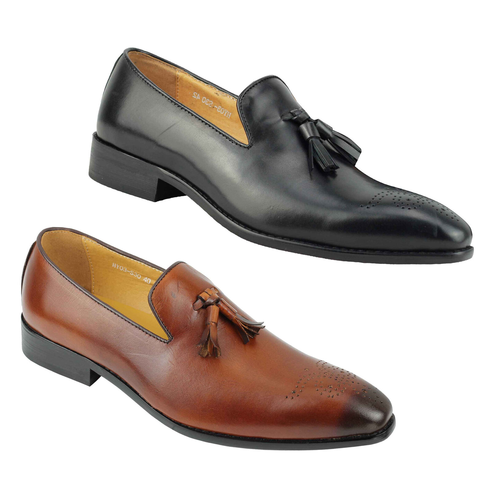 Mens Brown Black Real Leather Tassel Loafers Smart Casual Vintage Formal Shoes