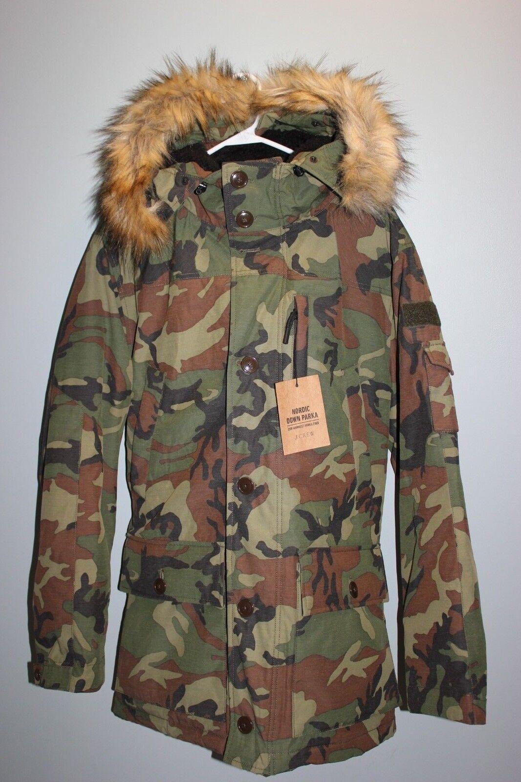 NEW JCREW Men's NORDIC DOWN PARKA HOODED COAT Sz S WOODLAND G9891 winter coat
