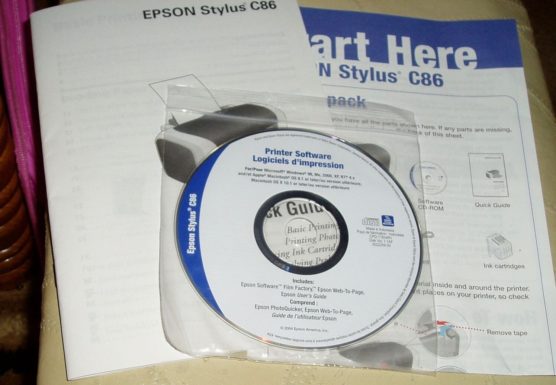 Epson stylus c86 setup installation cd rom software driver disk.