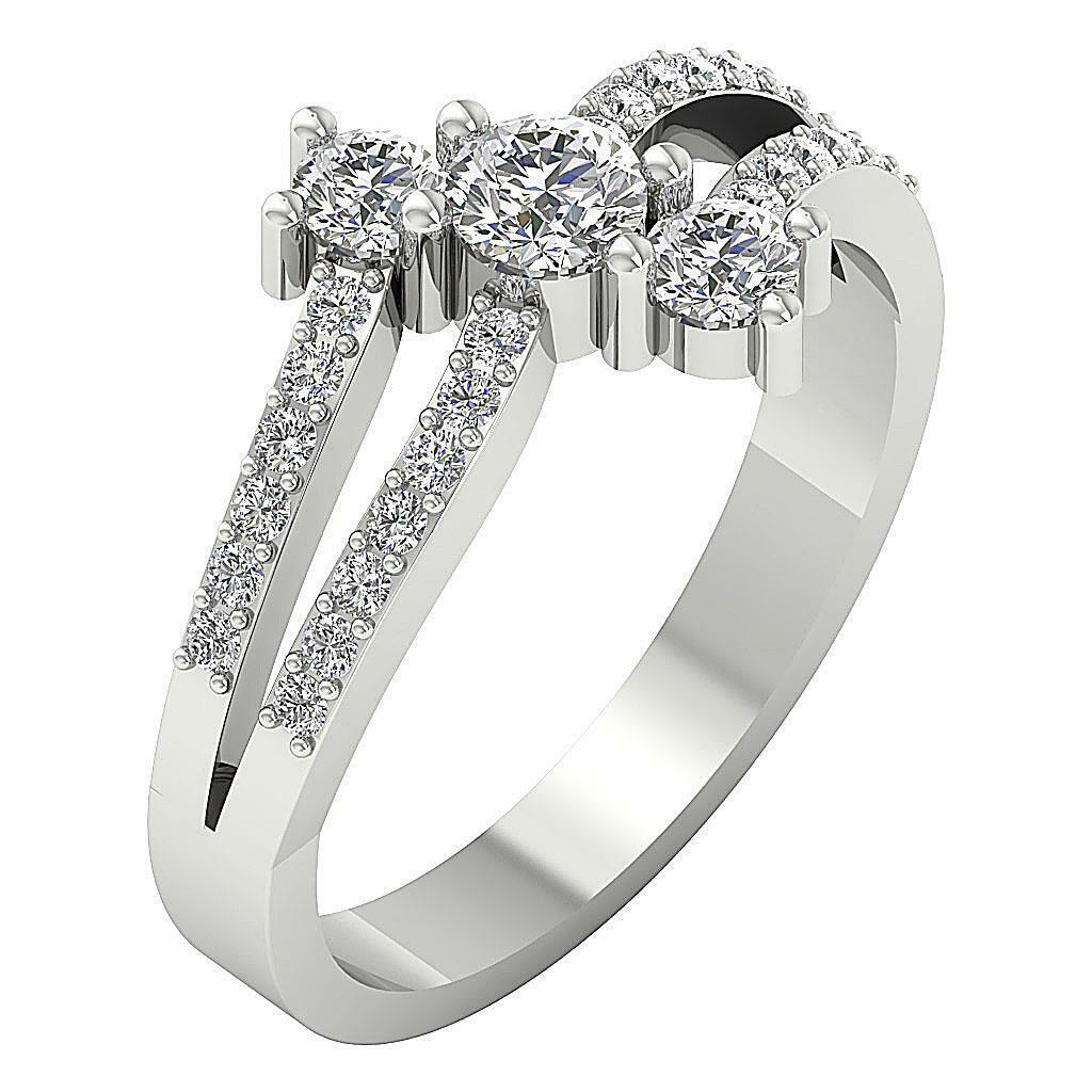 3 Stone Wedding Ring I1 G 0.90 Ct Round Cut Diamond 14K White gold Prong Pave Se