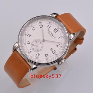 42mm-PARNIS-white-dial-Datum-sfenster-SS-ST1731-Automatisch-Herrenuhr-mens-watch