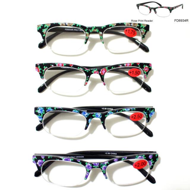 Rose Print Reading Glasses Reader Clean Lens 1.00 1.25 1.50 1.75 2.00 2.50 3.00