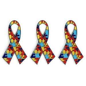 LOT-OF-3-AUTISM-AWARENESS-RIBBON-LAPEL-PIN-1-25-034-Metal-Enamel-Hat-Badge-Support