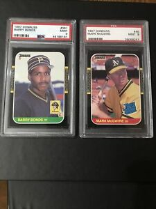 1987-Donruss-Barry-Bonds-and-1987-Donruss-Mark-McGwire-2-card-lot-PSA-9-Mint