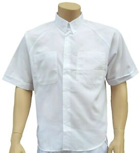 """CATHEDRAL 3 x 16"""" Mens Short Sleeved Shirt Pocket White Polyester Cotton Seconds"""