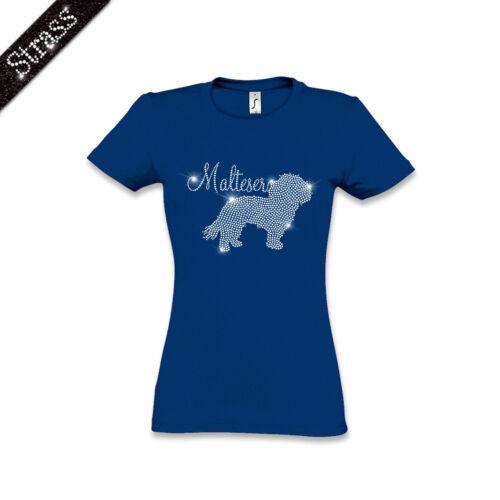 T-shirt femmes Coton Strass Strass strassbild Chien Maltais m1