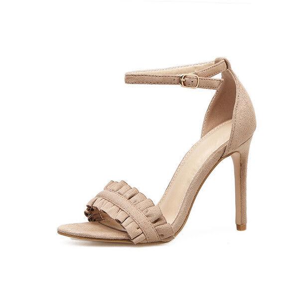 Leder Beige cm 11 Stilett Absatz Elegant Kunststoff Sandalen