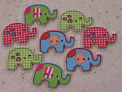 10 Unusual Brightly Coloured Bunny Rabbit Shaped Wooden Buttons FREE P/&P