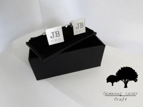 Silver Personalised Deluxe Engraved Wedding Cufflinks Groomsman scl4