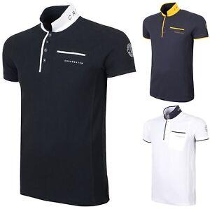 Polo-Homme-Crosshatch-A-Col-Coton-T-Shirt-a-Manches-Courtes-Haut-Decontracte-Neuf