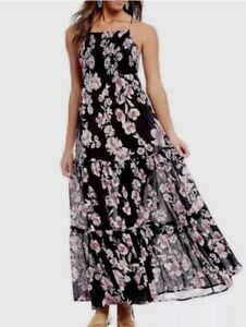3d02349c9a0 Details about Free People Garden Party Maxi Dress Floral Onyx Black Pink  Boho OB580623 Size XS