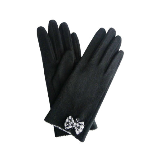 Ladies Wool Gloves BLACK with Houndstooth Bow