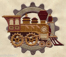 STEAM TRAIN SET OF 2 BATH HAND TOWELS EMBROIDERED BY LAURA