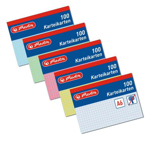 100 Herlitz Karteikarten A6 kariert verschiedene Farben Karteikarte
