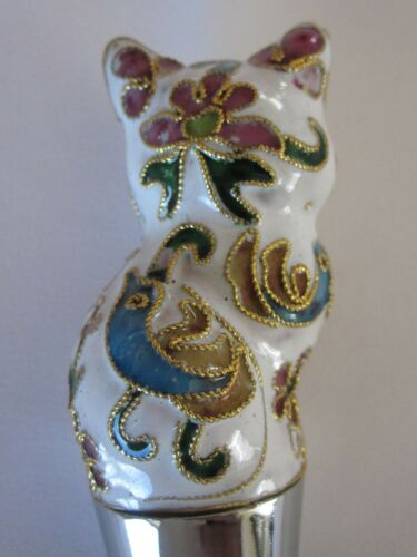 Chinese Beijing Cloisonne Cat Wine Bottle Stoppers