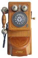 Pyle Prt45 Vintage Style Home Country Wall Phone Handcrafted Classic Design