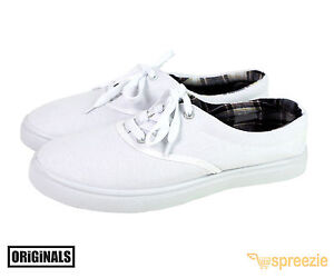 White Men's Canvas Shoes Lace Up Casual Sneakers Kicks Originals Lowtop Footwear