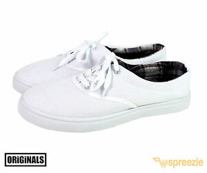 White-Men-039-s-Canvas-Chaussures-Lacets-Casual-Baskets-Kicks-Originals-lowtop-Chaussures