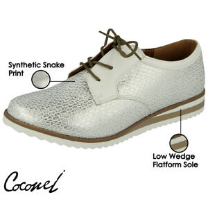 5d19c64ca3 Ladies Faux Leather Low Wedge Flat Lace Up Oxford Brogues ...