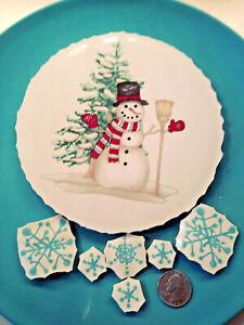 Christmas Village Snowman Focal Broken China Plate Mosaic Tiles