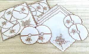 24-Vintage-Embroidered-Cocktail-Napkins-amp-Wine-Glass-Coasters-Grape-Leafs-NOS