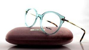9fa93b78542 NEW Genuine MIU MIU Round Transparent Azure Eye Glasses Frame ...
