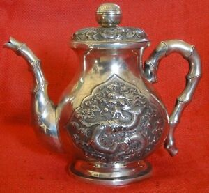 ANTIQUE CHINESE 666gr. SILVER TEAPOT DRAGONS AND BAMBOO ...