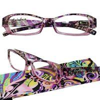 Pink Calypso Calabria Geometric Shape Reading Glasses Sprg Hnge Case +0.50-+6.00